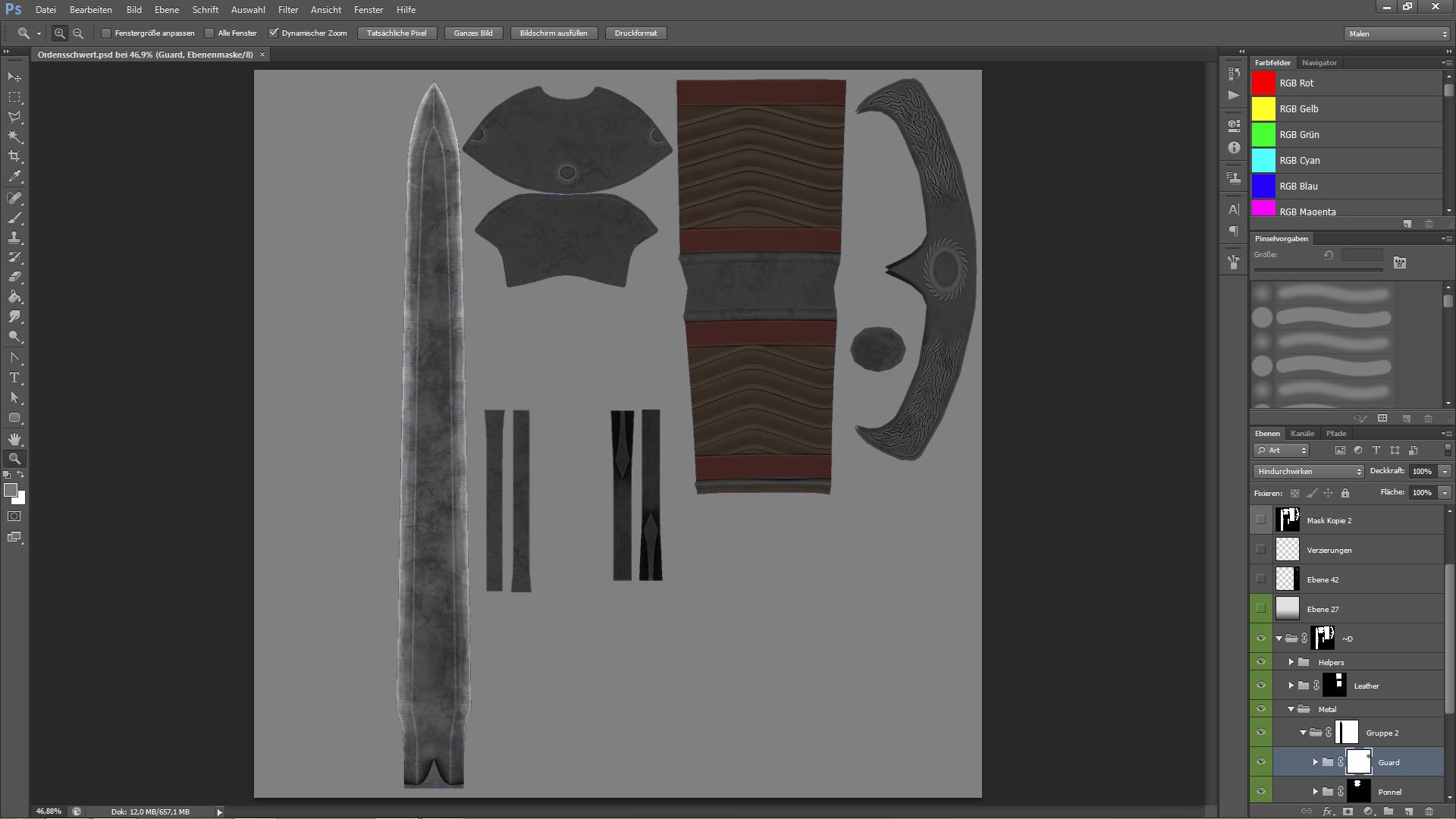 Einblick in die Texturdatei eines Schwerts