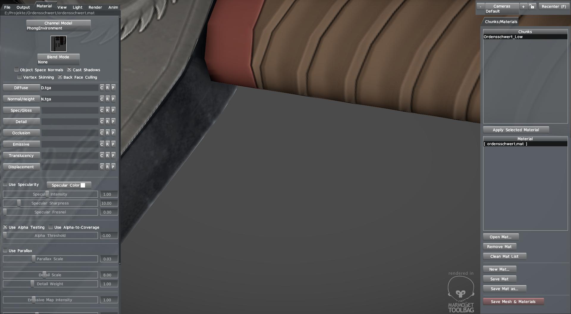 Mesh eines Schwerts in Toolbag